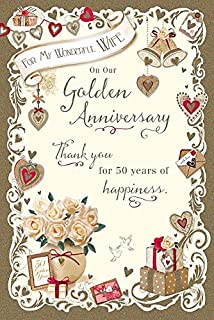 Amazon uk greetings wife golden 50th wedding anniversary card golden 50th anniversary 50 years nice verse greeting card wonderful wife m4hsunfo
