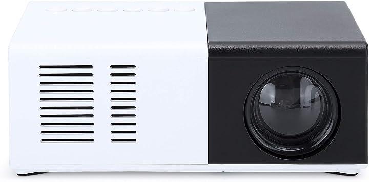 Opinión sobre Mini proyector, proyector de video portátil Proyector de películas para exteriores, máquina de proyección LED en blanco y negro con soporte, proyector HD con tarjeta AVAOAMI/USB/TF(Blanco negro)