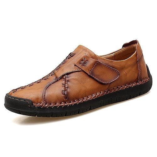 Hombres genuinos Zapatos de Cuero clásico Moda Casual Flats Primavera Transpirable Mocasines: Amazon.es: Zapatos y complementos