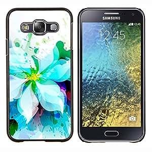 YiPhone /// Prima de resorte delgada de la cubierta del caso de Shell Armor - Blanco Jardín de flores de la acuarela Arte Dibujo - Samsung Galaxy E5 E500