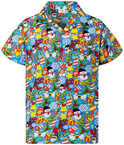 King Kameha Chemise Hawaïenne Hommes Funky Casual Button Down Très Fort Manches Courtes Noël Unisexe X-Mas Père Noël…