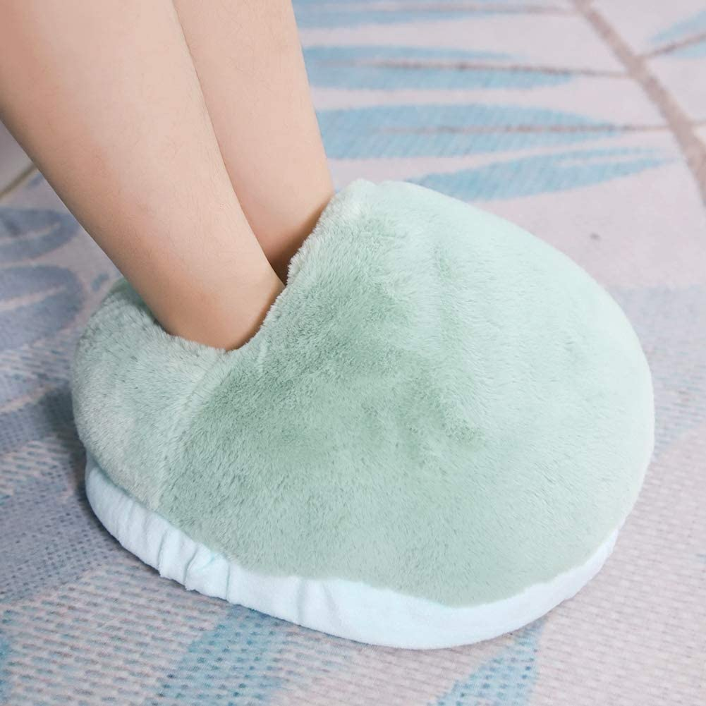 Mumusuki Heated Cold Weather Winter Warm Shoes USB Foot Cushion Electric Heater for Winter Office Heating Slippers Grey