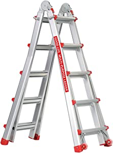 Good Life EN131 5X4 Step 17 Foot Telescoping Multi-Ladder Aluminum Extension Adjustable & Folding Multi-Use Multi-Position Ladder 300-Pound for Home