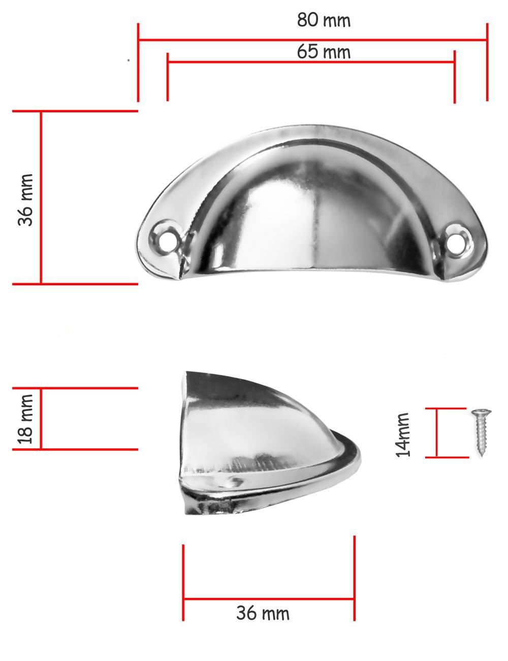 10er Set mit Schrauben verchromt silber FUXXER/® Griff-Schalen f/ür Schieber Buffets Kommoden Landhaus Stil 10x Antik Schubladen Griff-Muscheln Chrom-Design