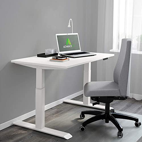 AdvanceUp Dual Motor Adjustable Electric Stand Up Office Desk Frame, with USB Charging Port, Programable Height Presets, 47 Height 63 Width, Support 220 lbs, White, Frame Top Set