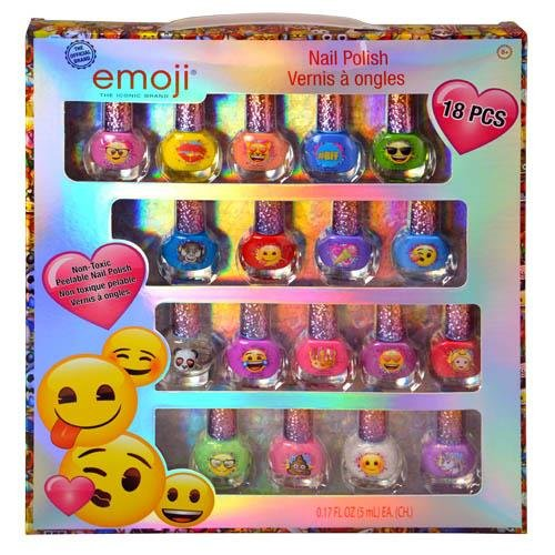 Townley Girl Emoji Super Sparkly Peel-Off Nail Polish Deluxe Present Set for Girls, 18 Colors (Peel Girls)