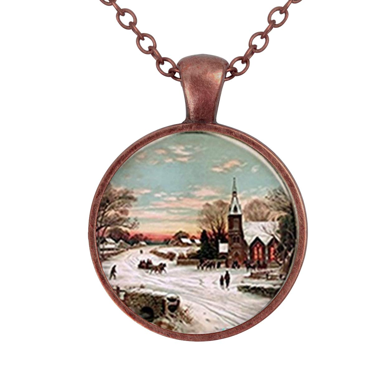 Lightrain Winter Road Art Picture Pendant Necklace Vintage Bronze Chain Statement Necklace Handmade Jewelry Gifts
