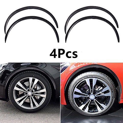 Fly5D 4Pcs 28.7″ Universal Car Truck Wheel Eyebrow Carbon Fiber Arch Flares Protector Trim Lips Fender