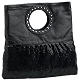 Whiting and Davis Mesh and Lambskin Clutch,Black,one size, Bags Central