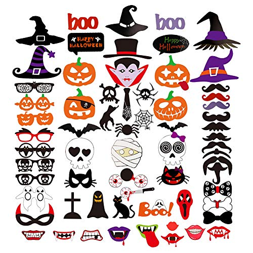 (66 Pcs Holloween Party Photo Booth Props DIY Kit for Party Decoration Favors Wedding)