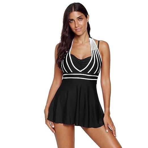 c6de2756d89e9 Womens Halter Swimdress Plus Size Two Piece Swimsuit Tankini Set ...