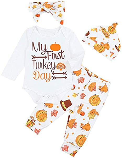 1ca3b1de5 Amazon.com: 4Pcs My First Thanksgiving Turkey Outfit Set Newborn ...