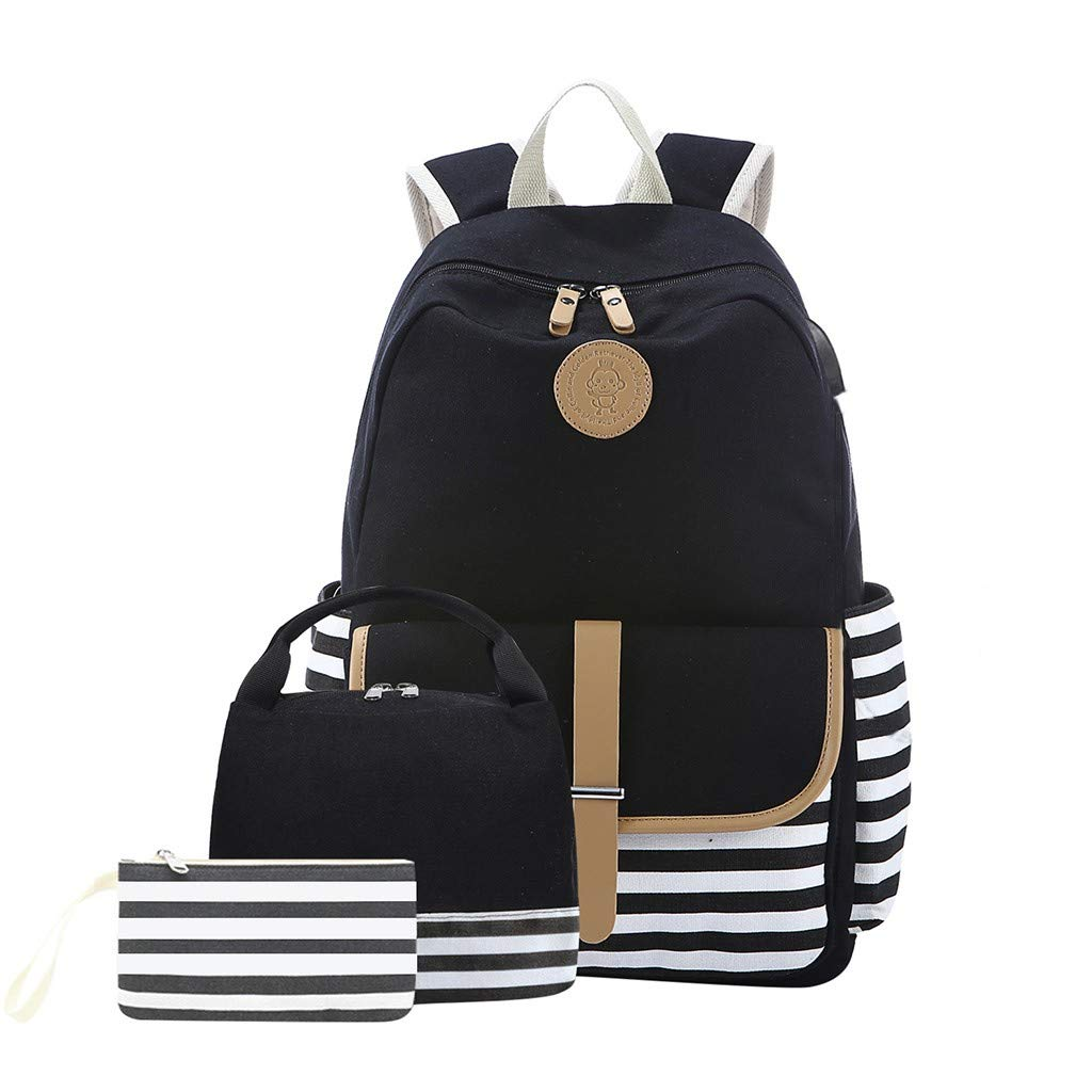 Tronet Casual Daypack for Travel, 3PC Women Ladies Girl Striped Handbag Shoulder Backpack with USB Interface Bags