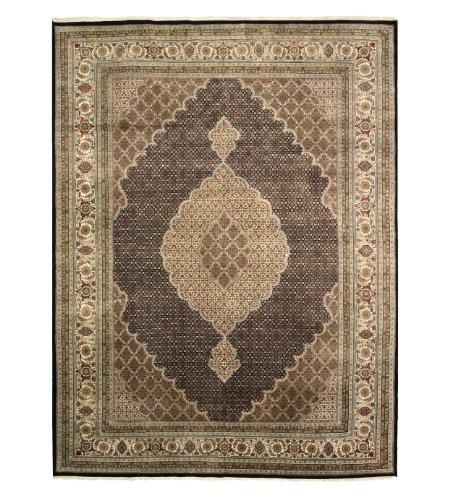 EORC MAHIBKIV Hand Knotted Wool and Silk Tabriz Mahi Rug, 9-Feet by 12-Feet, Black - Tabriz Center