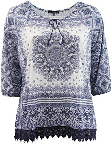 BNY Corner Women's Plus-Size Elegant Short Sleeve Design Fashion Blouse Tee Shirt Top Navy 0X G160.12L