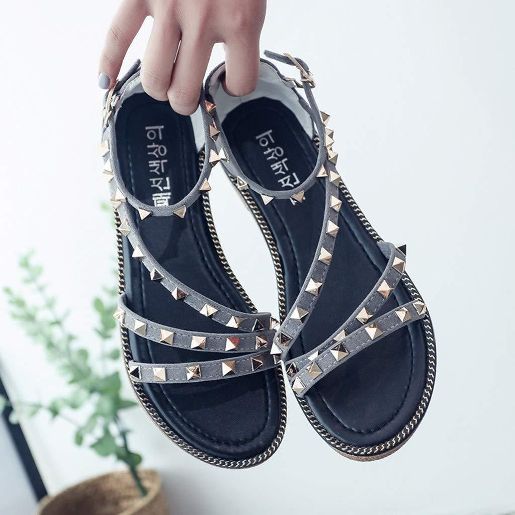 Sandals for Women Bohemia Flat Rivet Casual/Sandals Holiday Beach/Peep Toe/Shoes