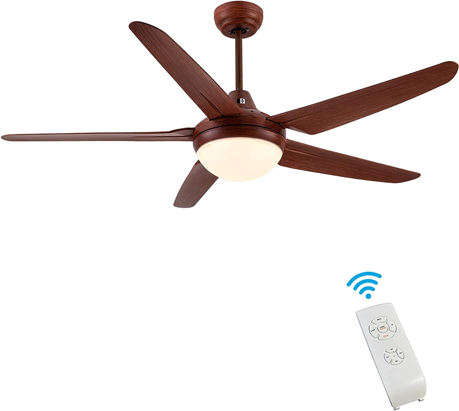 Ceiling Fan with Light, CJOY 53 Inch Modern Ceiling Fan with 5 Reversible Blades, 3000K, Remote Controls, Oil-Rubbed Bronze, for Indoor/Outdoor