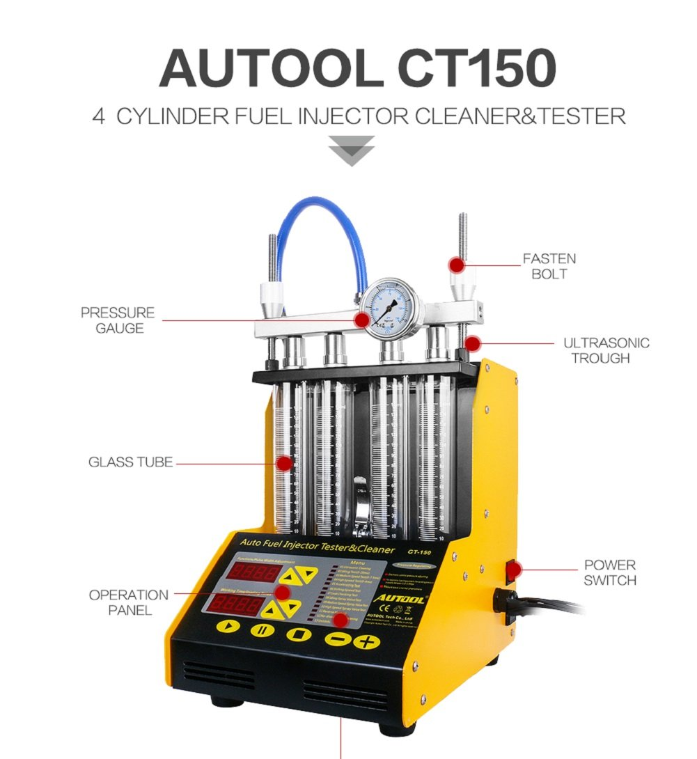 AUTOOL MINI CT-150 Automotive 4 Cylinder Ultrasonic Wave Injector Cleaner and Tester Support Motorcycle CT150 Automotive Fuel Cleaning Tools With Motorcycle Adapters by AUTOOL (Image #2)