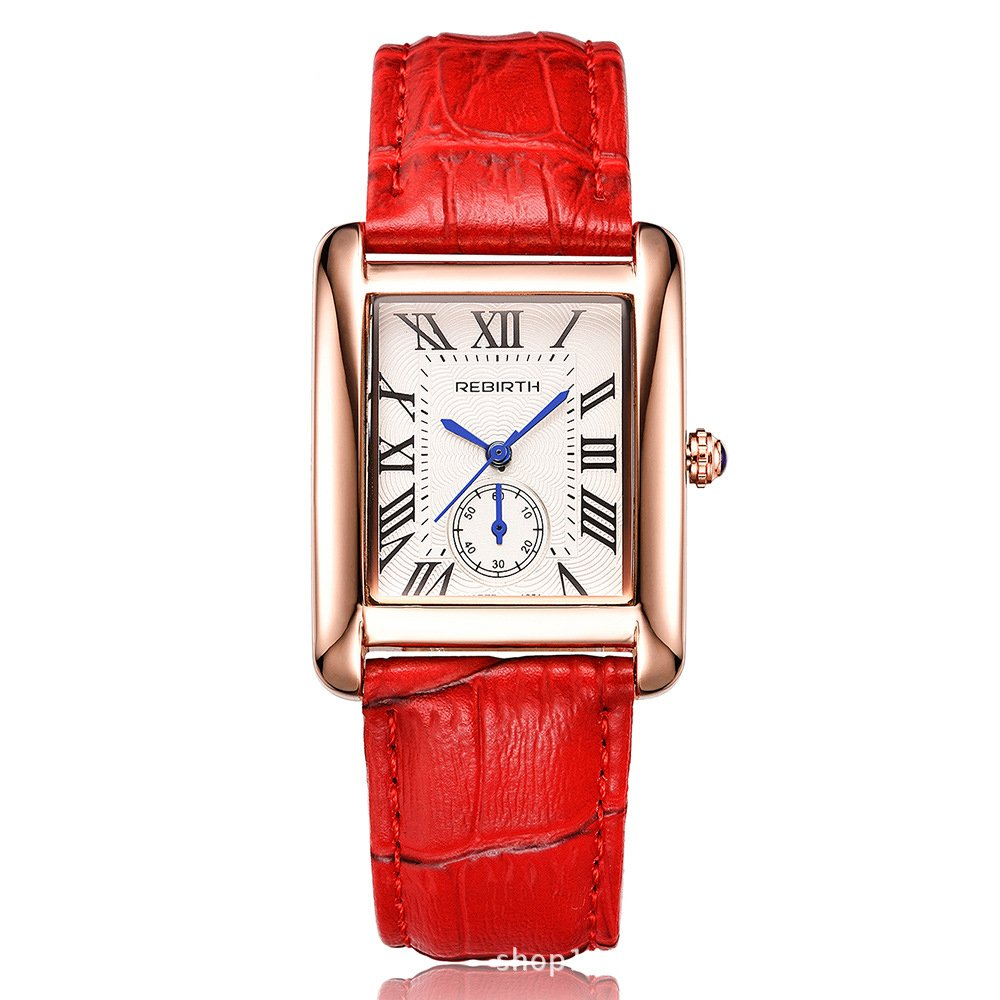 Women Quartz Watch Luxury Brand Leather strap Rectangle Dial Roma Number with Fake Small Dial Womens Watches Female Wristwatch on Sale (Red)