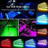 Car LED Strip Light, JingXiGuoJi 8 Color 48 LED RGB Muti-Color Music Underdash Decorative Atmosphere Car Interior Lighting Kit