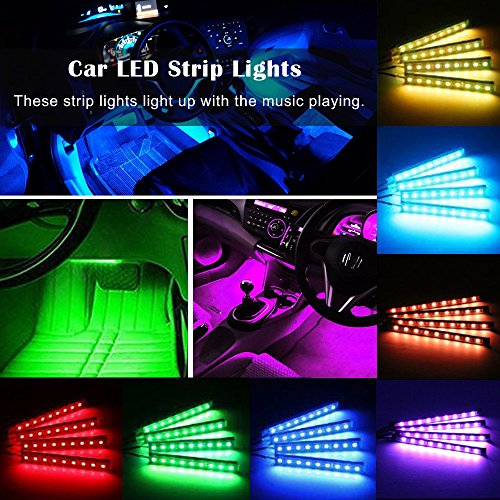 Car LED Strip Light, JingXiGuoJi 8 Color 48 LED RGB Muti-Color Music Underdash Decorative Atmosphere Car Interior Lighting Kit