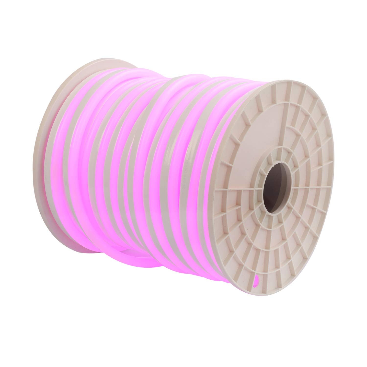 Shine Decor 15x25mm LED Neon Lights, 110V Dimmable Flexible Waterproof Rope Lights, 2835 120LEDs/M, for Indoor Outdoor Commercial Lighting Decoration, Accessories Included, 150ft Pink