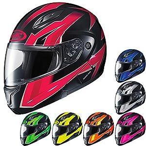 HJC CL-Max2 Ridge Modular/Flip Up Motorcycle Helmet (Orange/Black, Large)