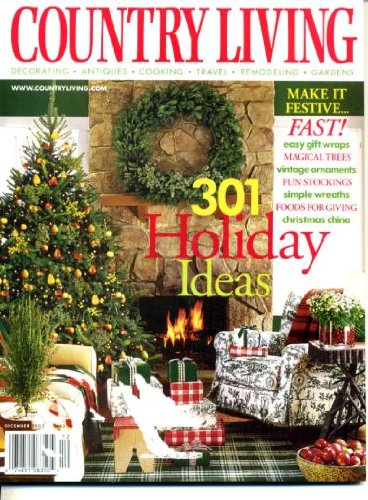 Country Living December 2002 Christmas Issue, 301 Holiday Ideas, Easy Gift Wraps, Magical Trees, Vintage Ornaments, Fun Stockings, Simple Wreaths, Christmas China, Food for Giving, Picture-Perfect Holiday Decorating, 1950s Tumblers -