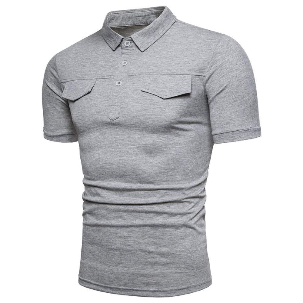 NISHISHOUZI Los Hombres Polo Shirt Solapa Bolsillo Falso Color ...