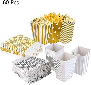 60Pcs Cajas de Palomitas de maíz, envases de Caramelos de cartón, Los Bocados del Partido, Las Palomitas y Los Regalos Bolsas de Fiesta, contenedores para el Regalo de Boda de Cumpleaños, 11.5x7cm: