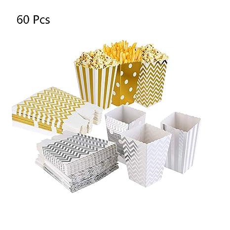 60Pcs Cajas de Palomitas de maíz, envases de Caramelos de cartón, Los Bocados del Partido, Las Palomitas y Los Regalos Bolsas de Fiesta, contenedores ...