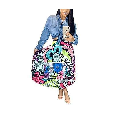 AIBBMIN Falda Plisada con Estampado de Dibujos Animados Mujer - - Large: Ropa y accesorios