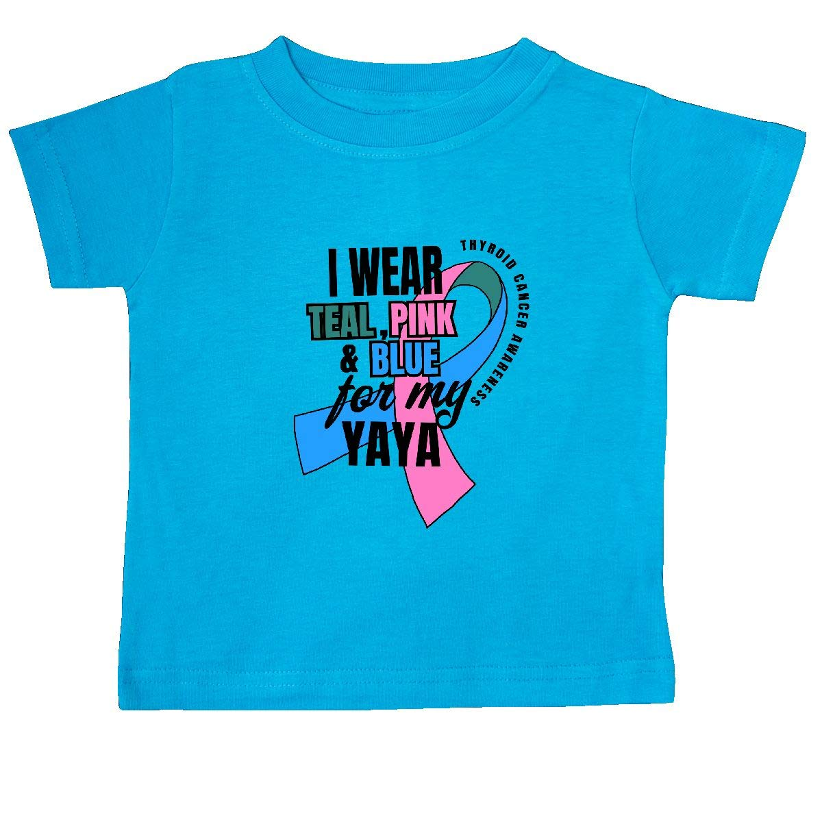 inktastic I Wear Teal Pink and Blue for My Yaya Baby T-Shirt