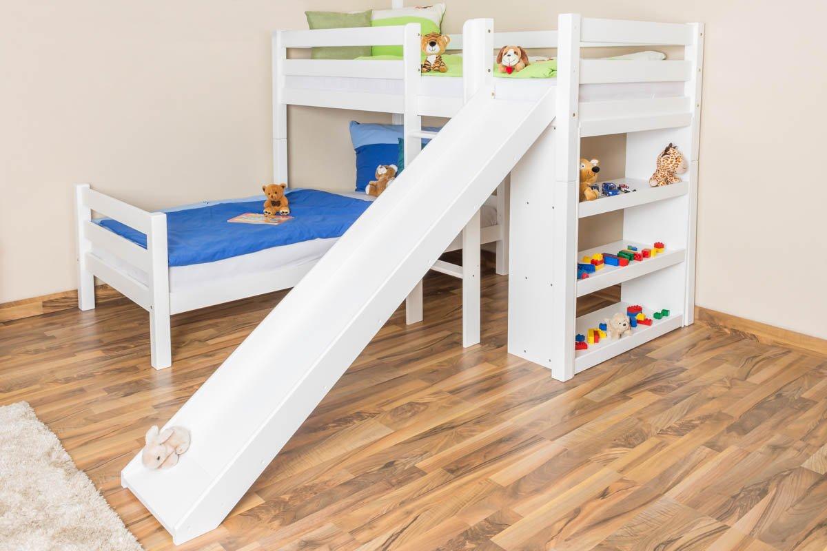 Etagenbett Weiß Mit Rutsche : Etagenbett mit rutsche beni l kinderbett spielbett bett weiß stoff
