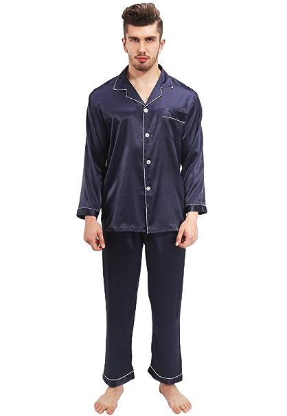 Vislivin Pantalones cortos con botones y pantalones cortos y pantalones largos y pijamas de satén de