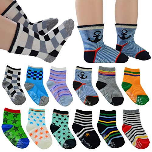 12 Pairs Baby's Cute Warm Cotton Socks (Anti-slip 1 to 3 Years Old), Lystaii Soft Anti Slip Grip Ankle Socks for 12-36 Month Kids Infant Toddler Walker Multiple Color Navy Style Striped Non Skid