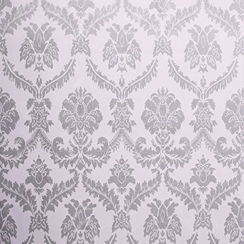 SICOHOME Damask Wallpaper Silver 11 Yard ()