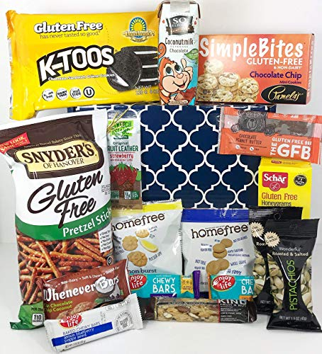 Big Gluten Free Dairy Free Gift Box Basket - Over 4 Lbs - Birthday College Military Care Package Sympathy Thinking of You Get Well Christmas Valentine's Easter Mother's Day Father's Day -