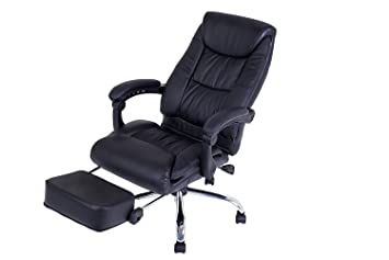 LCH Reclining Office Chair   Ergonomic Leather Executive Computer Desk Chair  Adjustable Angle Recline Locking System