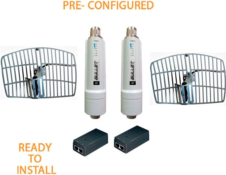M2-HP Bullet M2HP 2 Units PRE-CONFIGURED 600mW Outdoor with PoE-24 12W 2 Units and Antenna HG2420EG-NF 2.4GHz 15dBi 2 Units