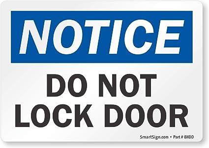 Amazon.com: Aviso: No Lock Puerta Etiqueta, 5