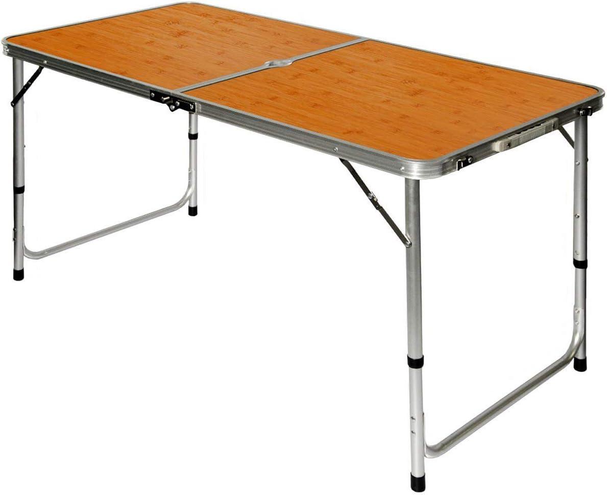 AMANKA Mesa para Acampada 120x60x70cm de Aluminio Plegable portátil como si Fuera un maletín Altura Regulable para pícnic Camping Bambú