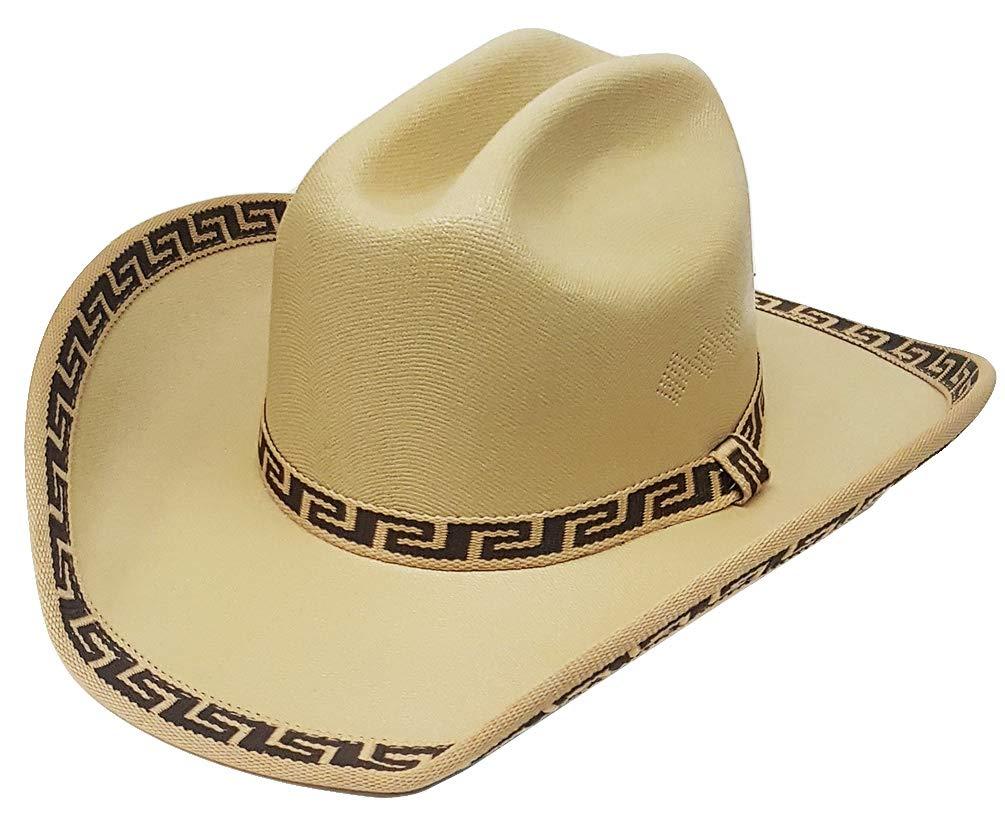 Modestone Kids Straw Cowboy Hat Native Pattern Fabric Brim Edge ''Sizes for Small Heads'' Beige