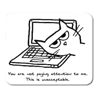 """Urmirs Mousepad Lover Angry Cat Demands Funny Pet Humor Grumpy Mouse Mat 9.5"""" x7.9"""" Mouse Pad Suitable for Notebook Desktop Computers Office Accessories"""
