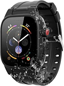 Waterproof Case for Apple Watch Series 4 / 5 / 6 / SE 44mm, 100% Compatible with Apple Watch Series 4, Series 5, Series 6, SE Protective Case with Soft Silicone Watch Band (Black)