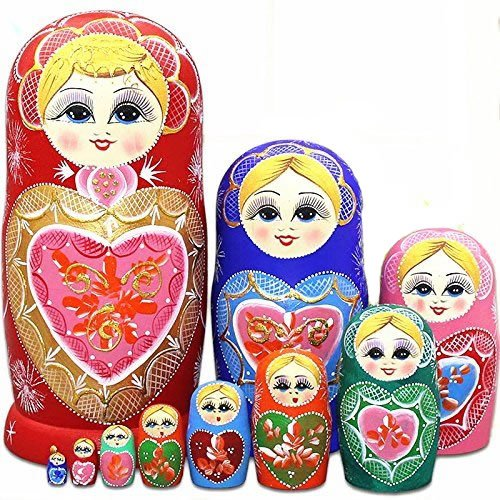 LK King&Light 10pcs R Heart-shaped pattern Wooden nesting toys Russian dolls Matryoshka stacking dolls by LK