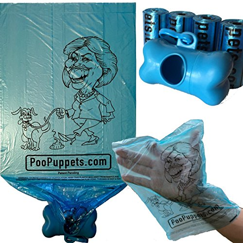 Hillary Clinton Dog Poop Bags by PooPuppets. Pick up your dog's mess with Hillary! #1 - Best gag, novelty pet waste bags for Democrats and Republicans during the 2016 election.