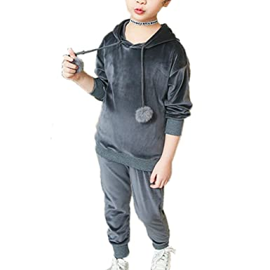 f472cd97c9c3 Banner Bonnie Little Girls' Velvet Tracksuit Hoodie Sweatshirt Sweatpant  Sets Grey Check 4-5