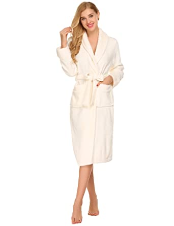 Luxury Towelling Bath Robe Dressing Gown Wrap Nightwear with Waist Belt for  Ladies and Men White ffd543896