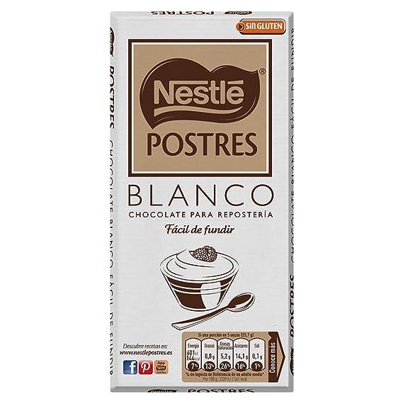 NESTLÉ POSTRES Chocolate Blanco para fundir - Tableta de chocolate para repostería 180g